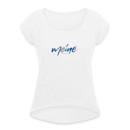 Meine Logo Blau - Frauen T-Shirt mit gerollten Ärmeln