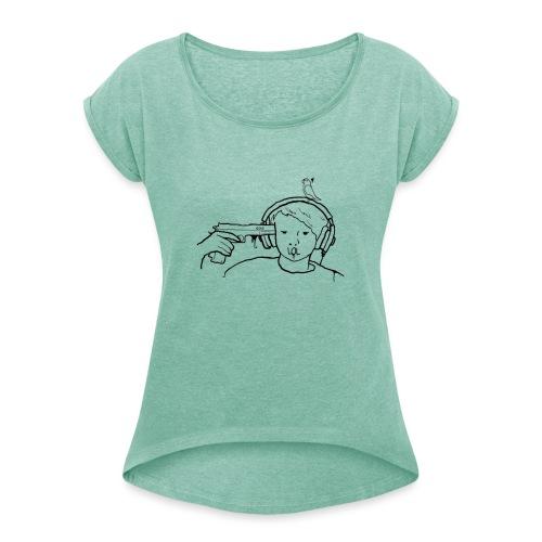 kys valkoinen - Naisten T-paita, jossa rullatut hihat