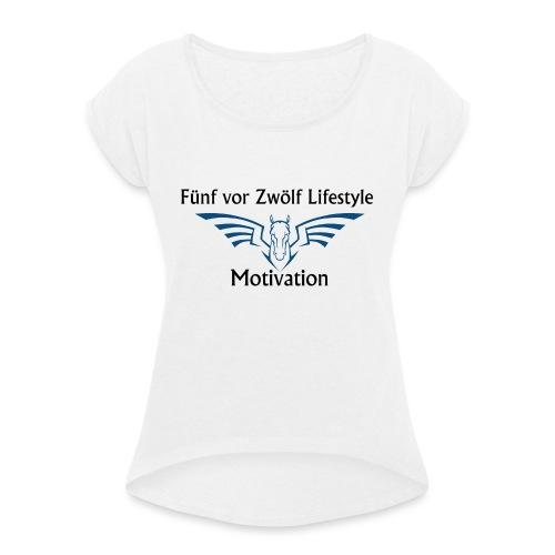 lifestyle Kaputzenpulli - Frauen T-Shirt mit gerollten Ärmeln