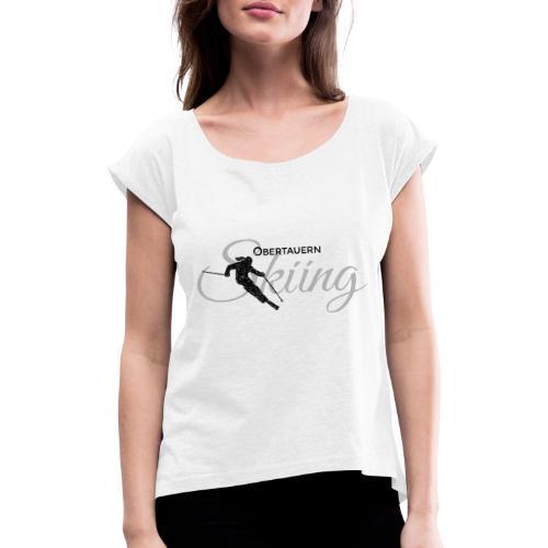 Obertauern Skiing (Grau) Apres-Ski Skifahrerin - Frauen T-Shirt mit gerollten Ärmeln