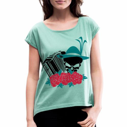 Rock Harmonika - Frauen T-Shirt mit gerollten Ärmeln