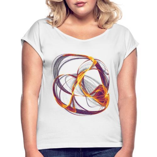 Aquarell Kunstgrafik Gemälde Bild 13997 inferno - Frauen T-Shirt mit gerollten Ärmeln