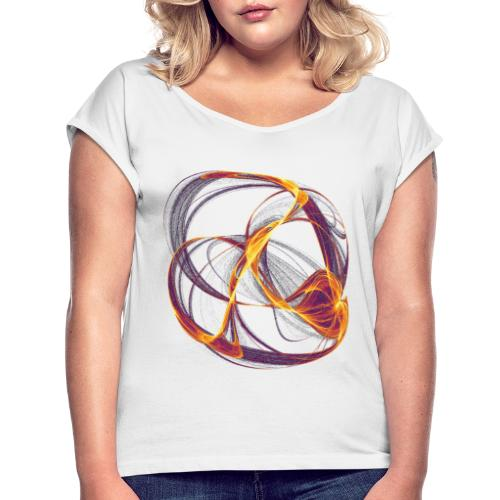 Watercolor art graphic painting image 13997 inferno - Women's T-Shirt with rolled up sleeves
