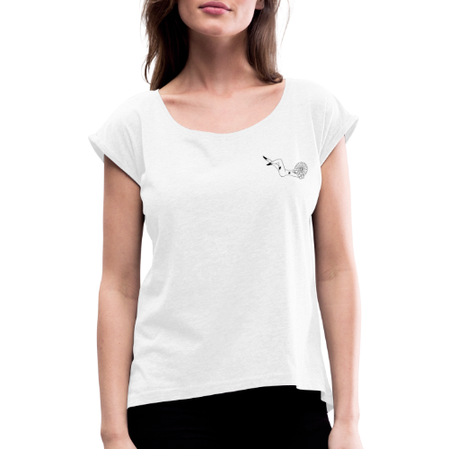 Flower power - Dame T-shirt med rulleærmer