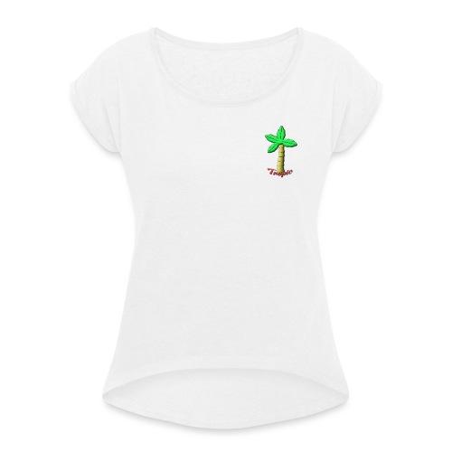 Tropic Palm - T-skjorte med rulleermer for kvinner