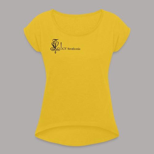 Zirkel mit Name, schwarz (vorne) - Frauen T-Shirt mit gerollten Ärmeln