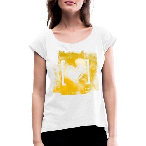 Herz / gelb - Frauen T-Shirt mit gerollten Ärmeln