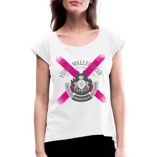 Original Serie - Pink Single Print - Frauen T-Shirt mit gerollten Ärmeln