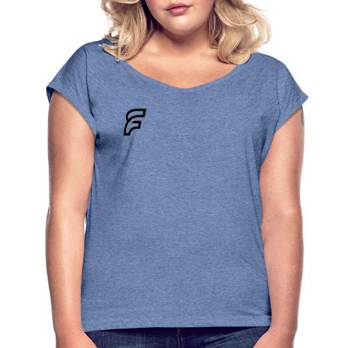 FaMe Icon Schwarz + Schrift - Frauen T-Shirt mit gerollten Ärmeln