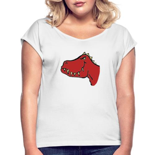 T Rex, Red Dragon - Women's T-Shirt with rolled up sleeves
