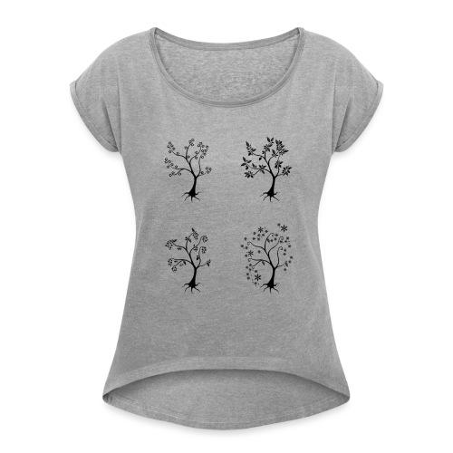 Vuodenajat - Naisten T-paita, jossa rullatut hihat