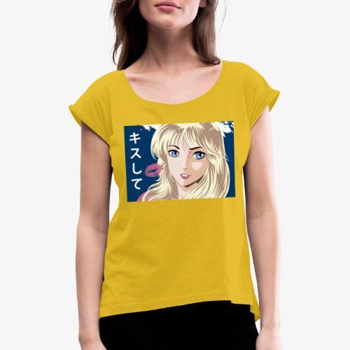 manga girl kiss - Camiseta con manga enrollada mujer