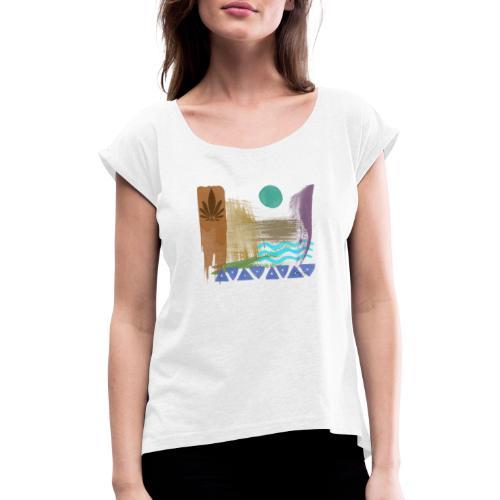 greek 02 - Frauen T-Shirt mit gerollten Ärmeln