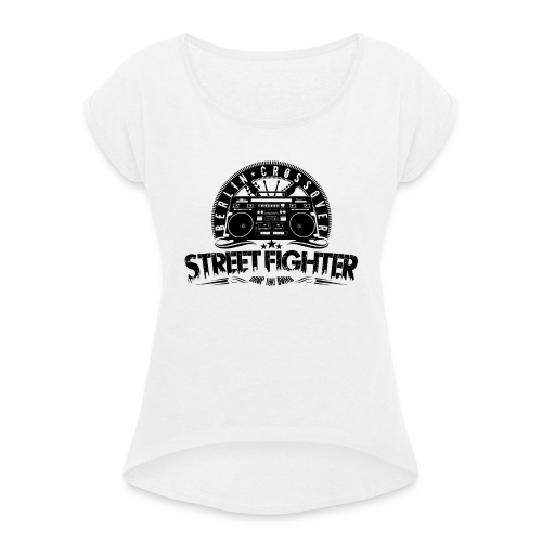 Street Fighter - Bandlogo (Black) - Frauen T-Shirt mit gerollten Ärmeln