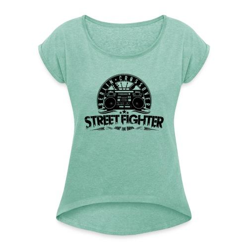 Street Fighter - Bandlogo (Black) - Frauen T-Shirt mit gerollten Ärmeln