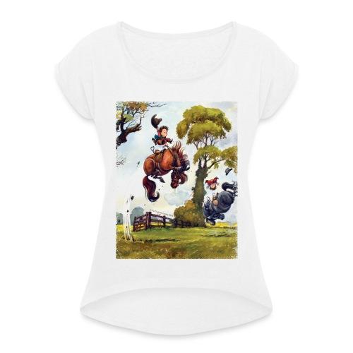 Thelwell Cartoon Pony Rodeo - Frauen T-Shirt mit gerollten Ärmeln