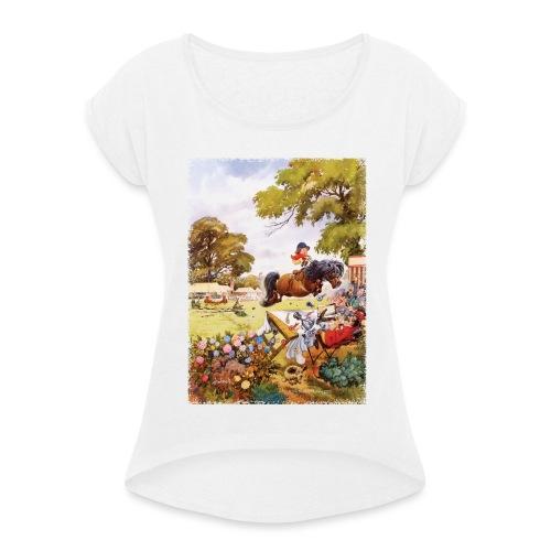 Thelwell Cartoon Pony Turnier - Frauen T-Shirt mit gerollten Ärmeln
