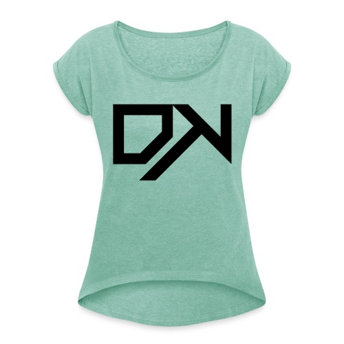 DewKee Logo Samung Galaxy S4 Case Black - Women's T-Shirt with rolled up sleeves