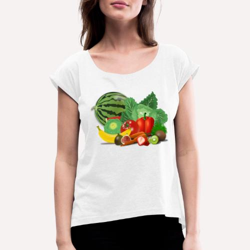 Fruits and vegetables lover - Women's T-Shirt with rolled up sleeves