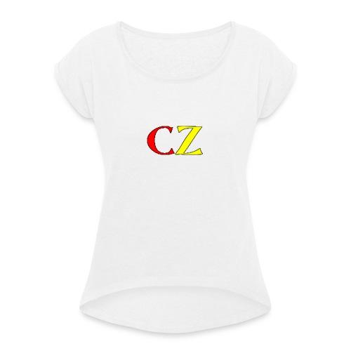 CZ vrouwen t-shirt - Vrouwen T-shirt met opgerolde mouwen