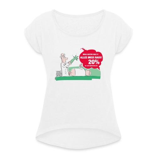 Darmspiegelung - Frauen T-Shirt mit gerollten Ärmeln