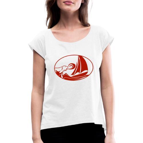 blauwassersegeln.at - Frauen T-Shirt mit gerollten Ärmeln