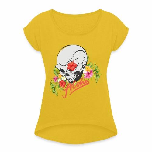 Hawaiian Skull Aloha Surfer Design - Frauen T-Shirt mit gerollten Ärmeln