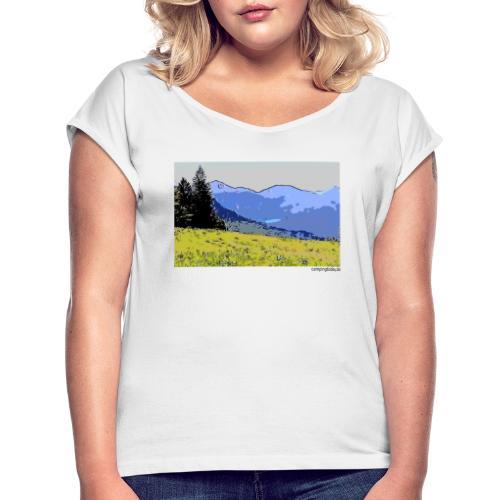 Berge künstlerisch - Frauen T-Shirt mit gerollten Ärmeln