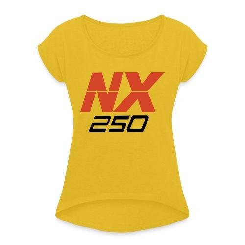 nx250 logo transparant - Vrouwen T-shirt met opgerolde mouwen