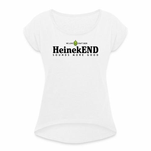 HeinekEND scritta nera - Maglietta da donna con risvolti