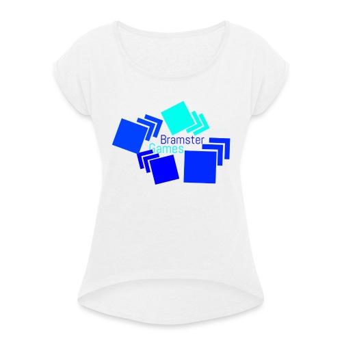 Bramster Games Nieuw Logo - Vrouwen T-shirt met opgerolde mouwen