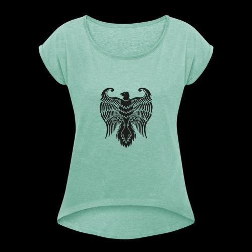 HAUKKA ei tekstia - Naisten T-paita, jossa rullatut hihat