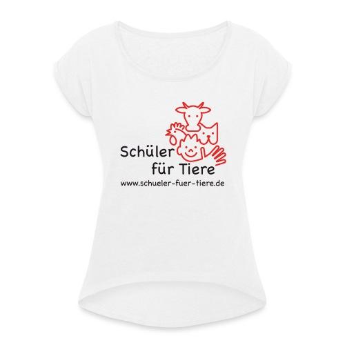 Logo Farbe (2x) - Frauen T-Shirt mit gerollten Ärmeln