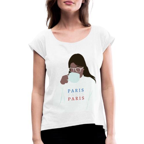 P A R I S - Camiseta con manga enrollada mujer