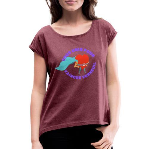 Tous Unis pour Vaincre verneuil violet - T-shirt à manches retroussées Femme