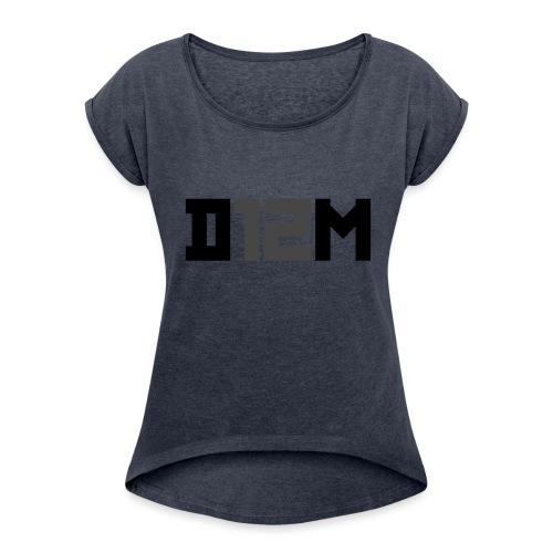 D12M: SHORT BLACK - Vrouwen T-shirt met opgerolde mouwen