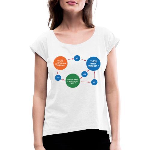 Conflict & Resolution - Frauen T-Shirt mit gerollten Ärmeln