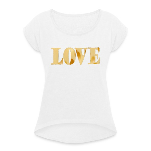 Cheesy love - Women's T-Shirt with rolled up sleeves