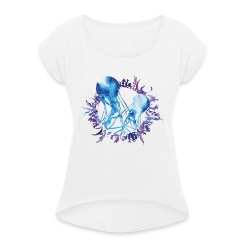 bluecontest - T-shirt à manches retroussées Femme
