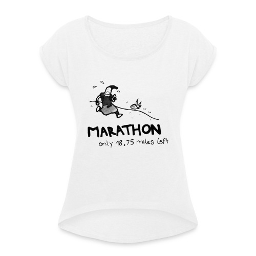 marathon-png - Koszulka damska z lekko podwiniętymi rękawami
