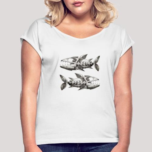 FishEtching - Women's T-Shirt with rolled up sleeves