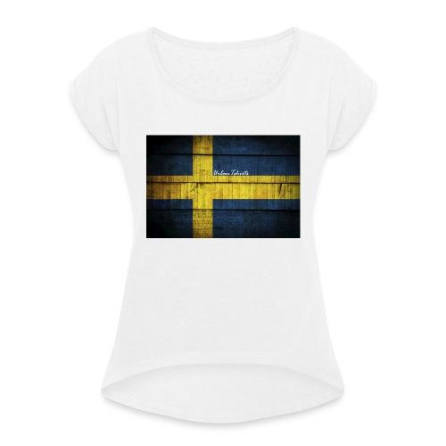 swedish-flag - T-shirt med upprullade ärmar dam