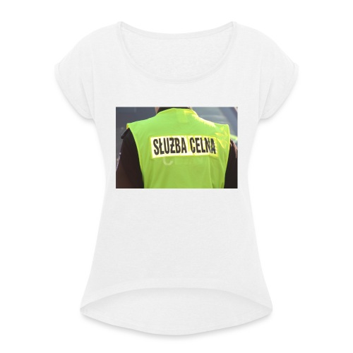 policja - Koszulka damska z lekko podwiniętymi rękawami