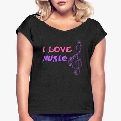 Love Music - Camiseta con manga enrollada mujer