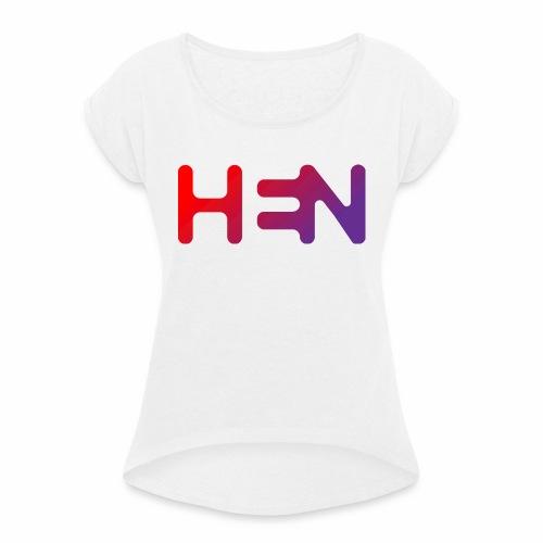 HEN LOGO - T-skjorte med rulleermer for kvinner