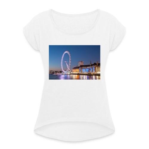 Trøje med biled af london på - Dame T-shirt med rulleærmer