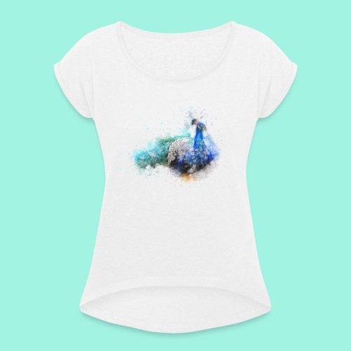 Peacock - Frauen T-Shirt mit gerollten Ärmeln