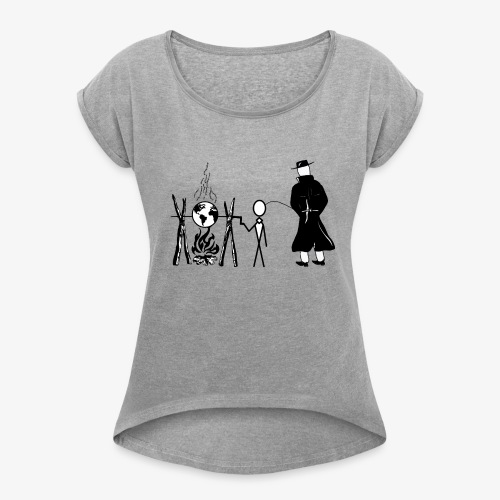 Pissing Man against human self-destruction - Frauen T-Shirt mit gerollten Ärmeln