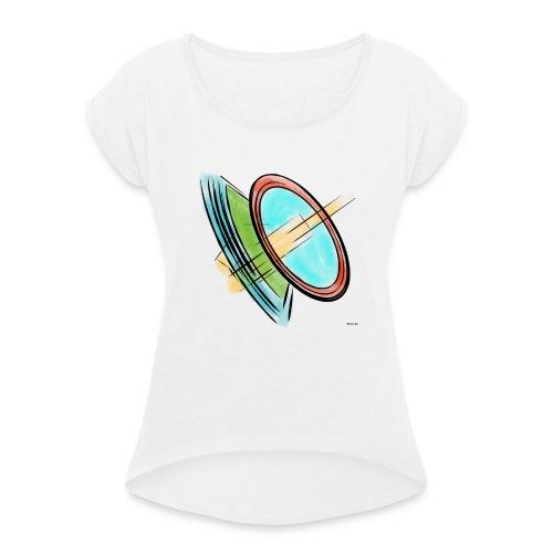 Circles - T-shirt med upprullade ärmar dam