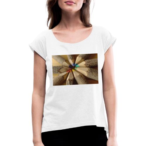 flo - Camiseta con manga enrollada mujer
